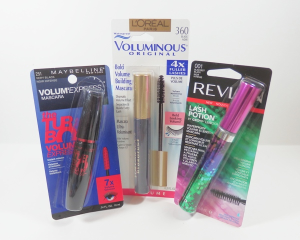 Maybelline Volum Express Turbo Boost, L'Oreal Voluminous waterproof mascara, Revlon Lash Potion waterproof mascara