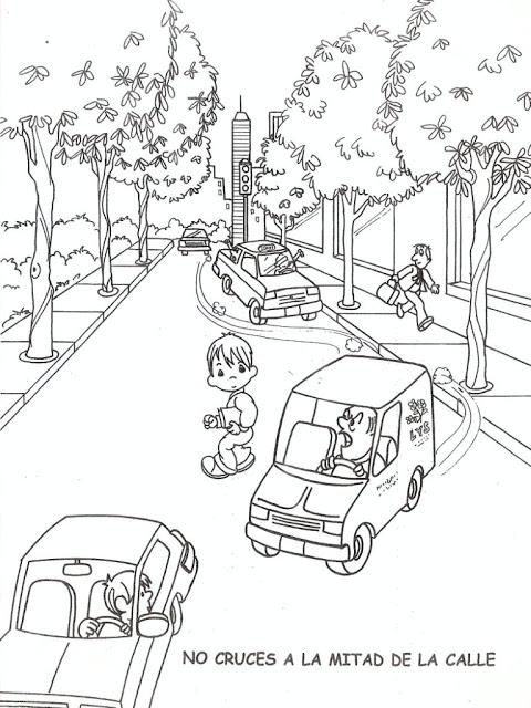 Dibujos educacion vial para Colorear | Dibujos para Niños