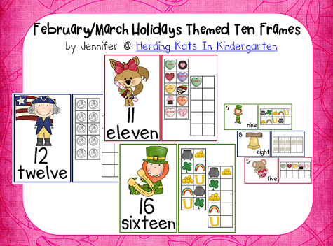 https://www.teacherspayteachers.com/Product/FebruaryMarch-Ten-Frames-Unit-Valentines-Presidents-St-Patricks-Day-511124