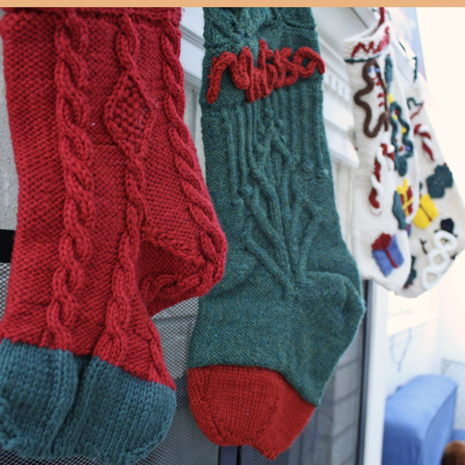 the stockings are handknit by me we also have a large set of sewn stockings at my momu0027s house that iu0027ll showcase later this month