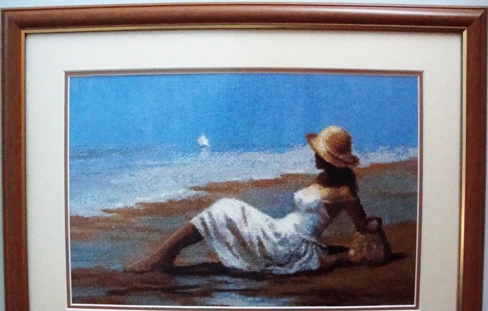 Девушка у моря схема вышивки 57