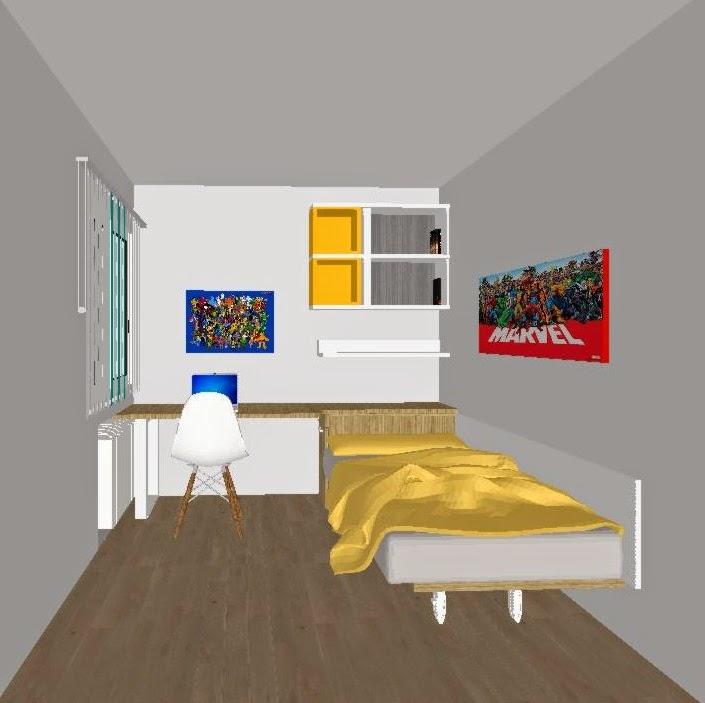 Habitacion juvenil minimalista combinada en nordico blanco - Mesas de habitacion ...