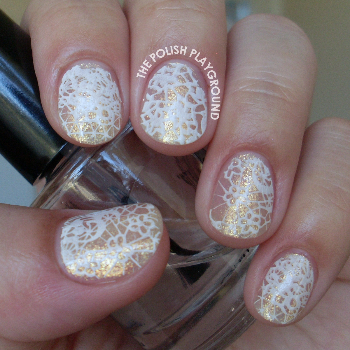White Shimmering Lace Stamping Nail Art