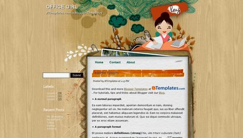 Office Girl - Free Blogger Template