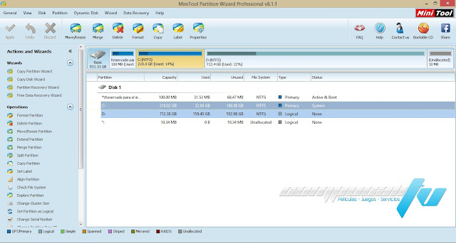 Partition Wizard PRO Edition 8.1.1 + Boot Media Builder
