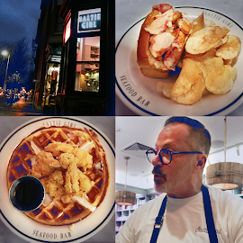 Saltie Girl Boston. Lobster Roll, Michael the waiter, Fried Lobster & Waffles.