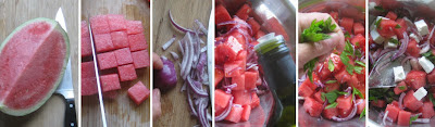 Zubereitung Wassermelonen-Feta-Salat