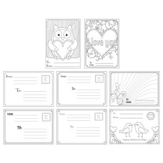 Stampin' Up! Digital Valentine Postcard Templates & Stamp Brush Set