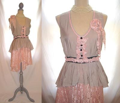Up-cycled Shabby Chic cottage tattered boho tunic, romantic dress , vintage lace embellished whimsical long blouse