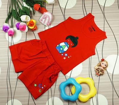 Bộ in hình cô gái Nhật màu đỏ dành cho bé