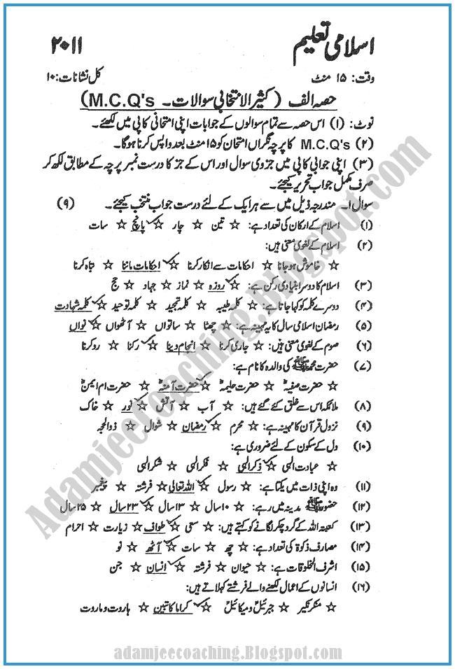 Islamiat-2011-past-year-paper-class-XI