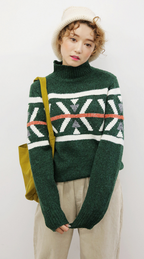 Color Striped Patterned Sweater