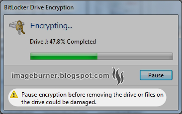 Wait for the drive encryption process to finish (this may take a while). Take note of the precaution.