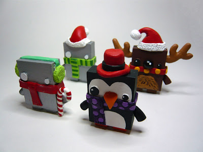 Christmas Jellybot Resin Figures by The Jelly Empire