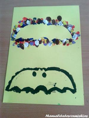 Manualidades infantiles: Murciélago con huella dedos