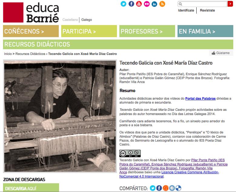 http://www.educabarrie.org/recursos/tecendo-galicia-con-xose-maria-diaz-castro