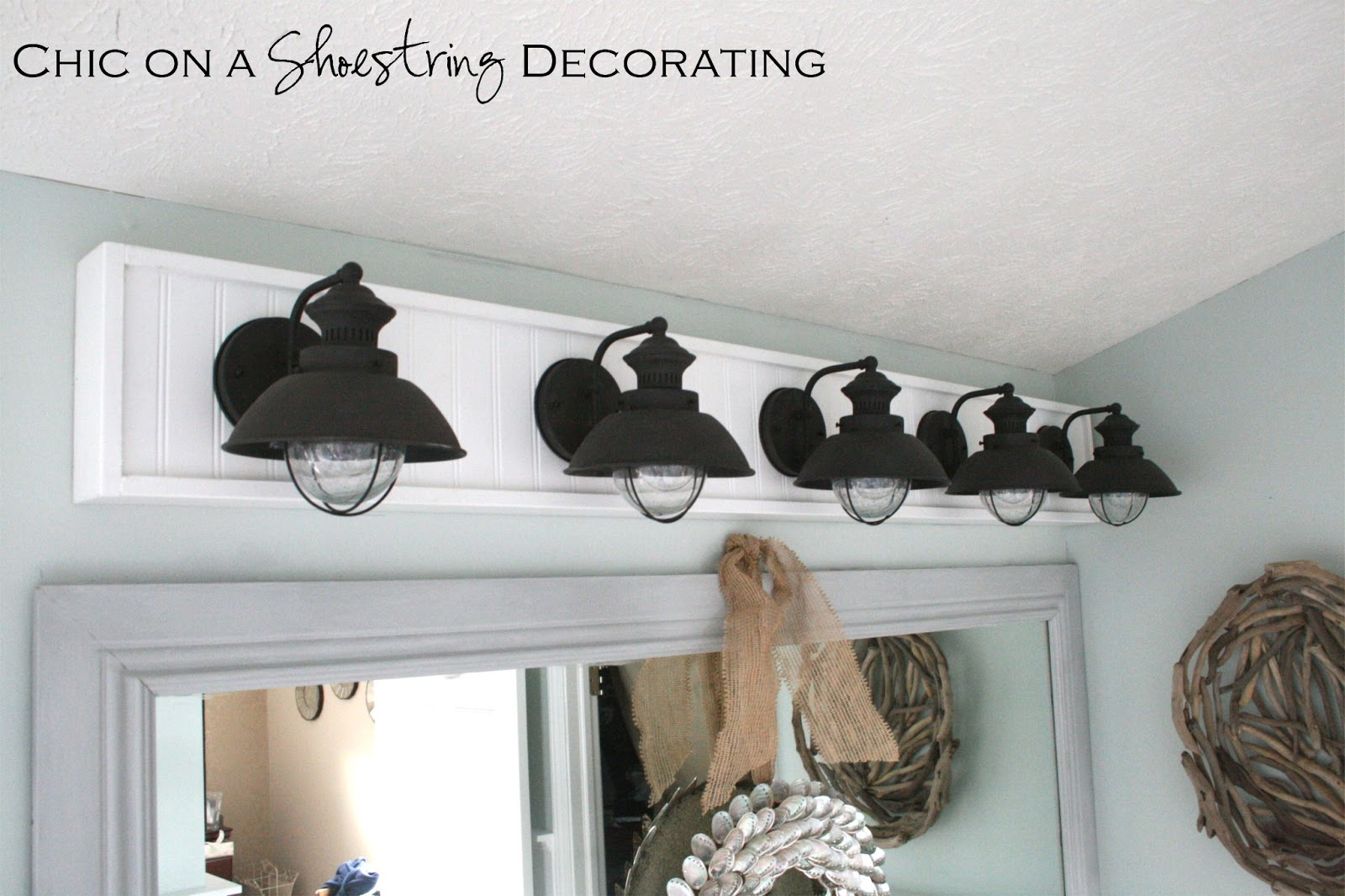 Cheap Bathroom Lighting Fixtures   Chic On A Shoestring Decorating How To  Build A Bathroom Light
