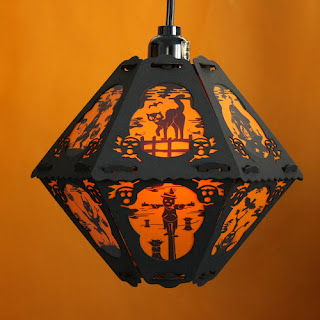 Halloween cat and mouse games on vintage style lantern by Bindlegrim