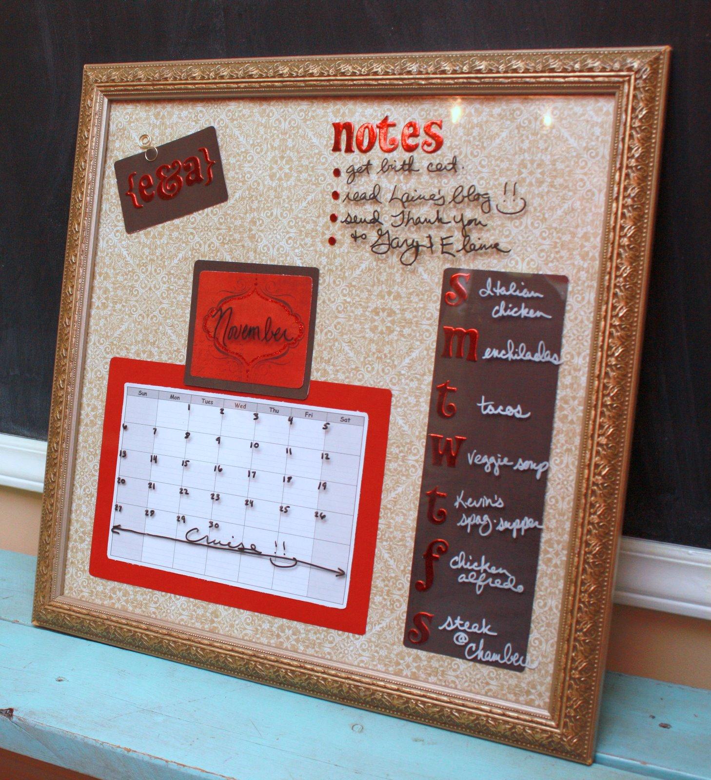 Diy Calendar Dry Erase Board : It s just laine diy dry erase message board