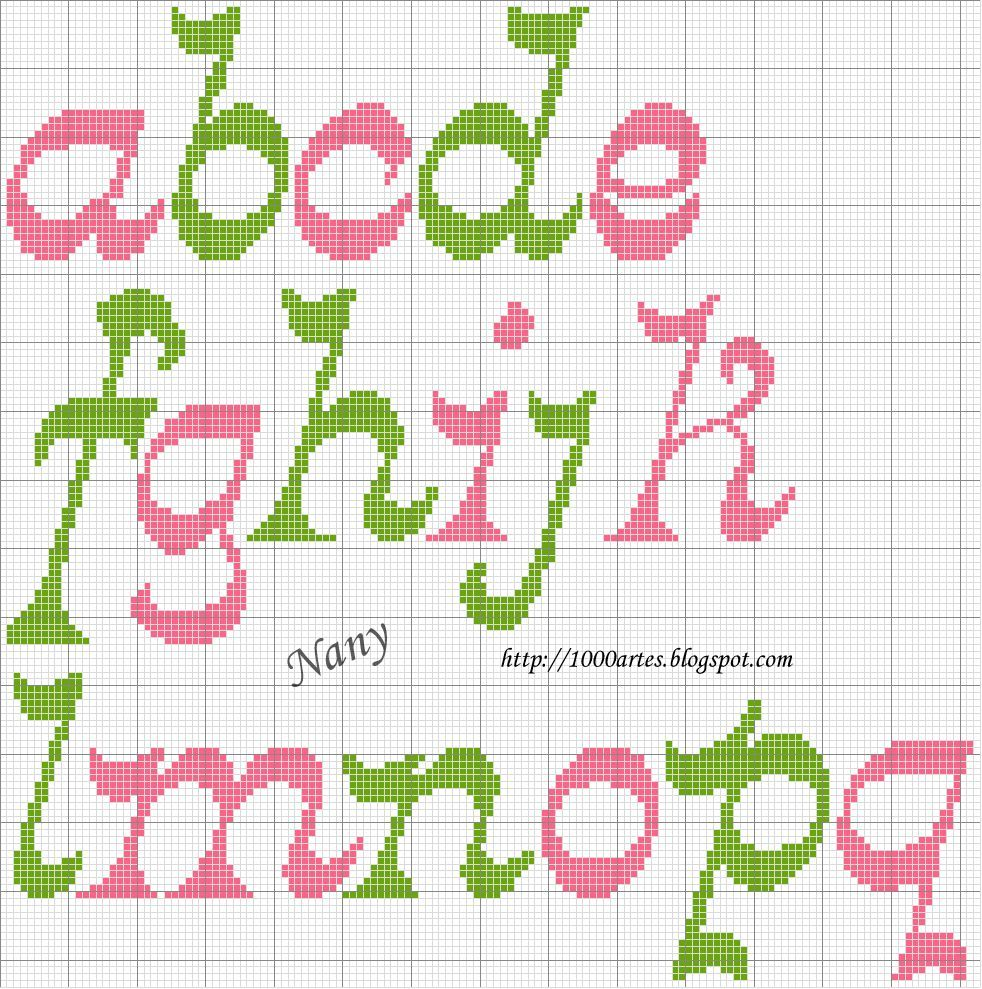 Gráfico Alfabeto - Ponto Cruz
