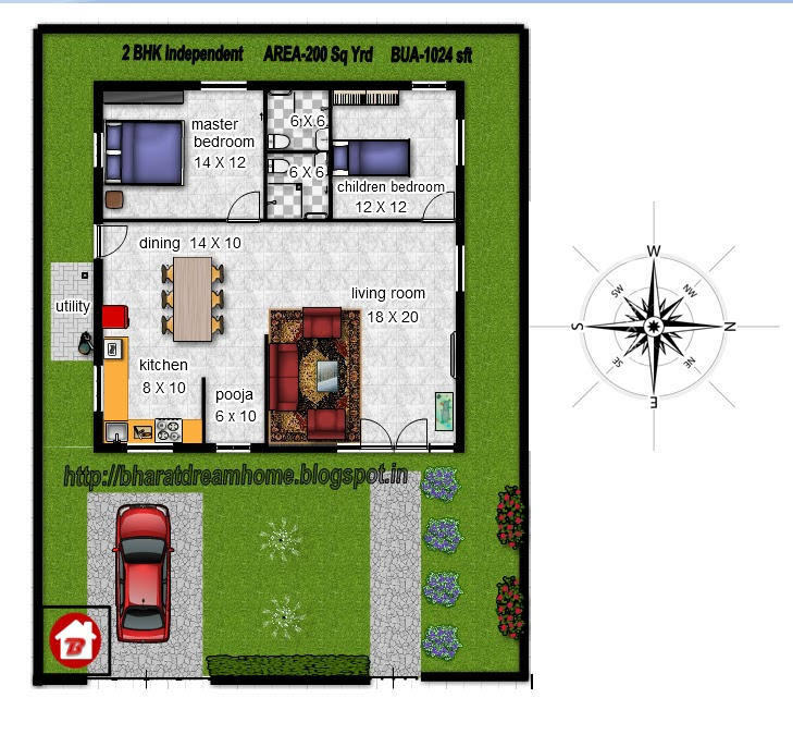 Bharat dream home 2 bedroom floorplan 1024 facing for 2bhk plan homes