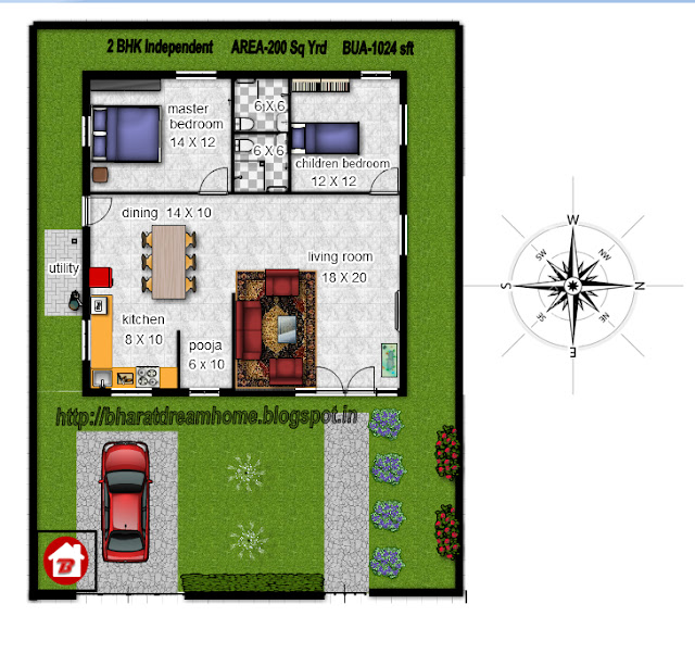 Bharat Dream Home 2 Bedroom Floorplan 1024 Facing