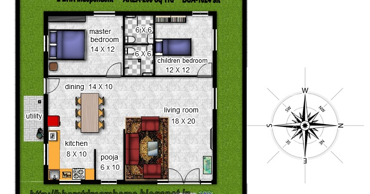 Bharat dream home 2 bedroom floorplan 1024 facing for Design of 2bhk house