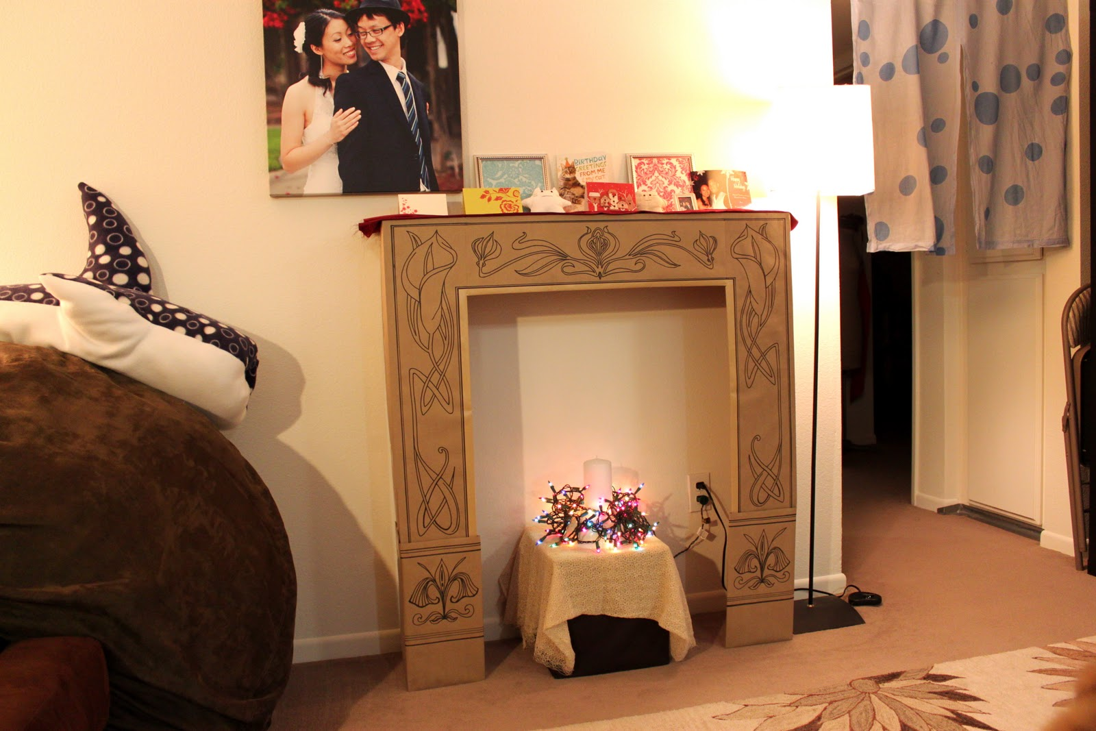 cation designs diy cardboard faux fireplace. Black Bedroom Furniture Sets. Home Design Ideas