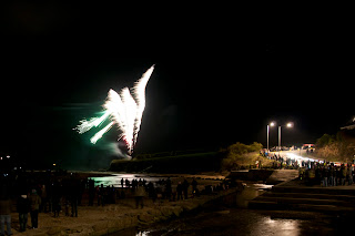 Porth Beach fireworks Cornwall