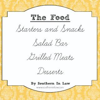 Healthy Party Menu - Starters, Snacks, Salad Bar, Grilled Meats, Dessert