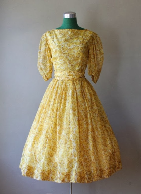 Golden Garden Chiffon Party Dress
