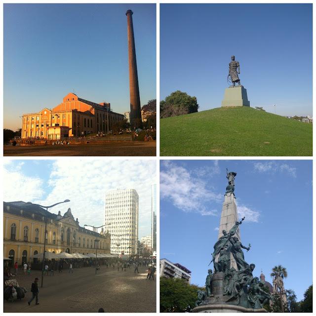 Porto Alegre - Usina do Gasômetro, estátua do Laçador, monumento a Julio de Castilhos, Mercado Público