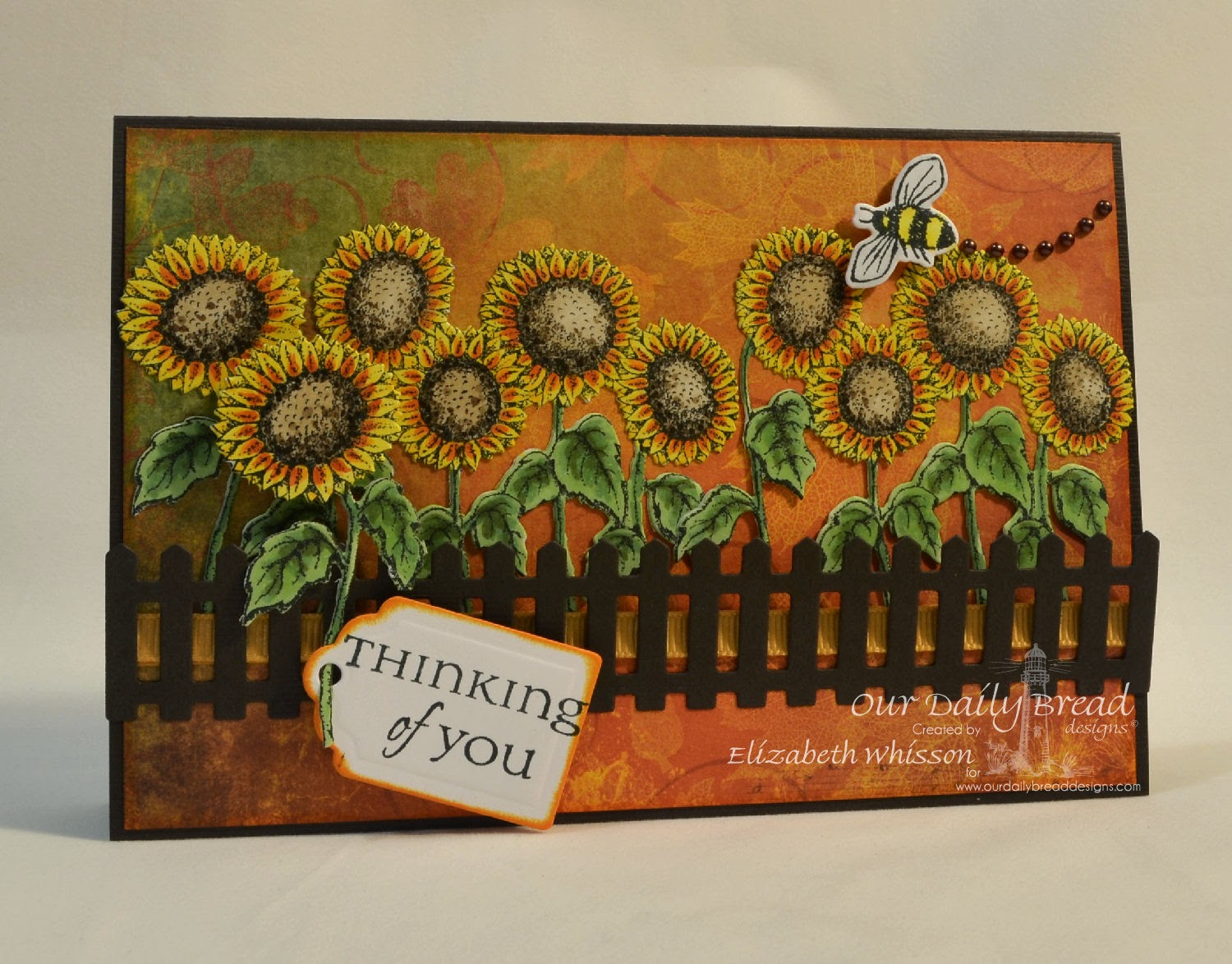Our Daily Bread Designs, All Occasion Sentiments, Sunflowers single, Zinnia, Sunflowers die, Zinnia and Leaves dies, Fence die, Recipe and Tags Dies, Designs – Elizabeth Whisson