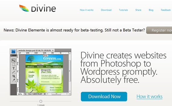 Divine, to convert PSD to WordPress theme