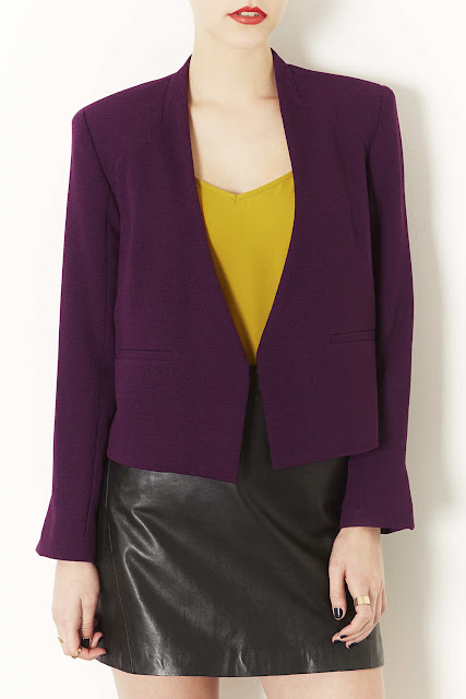 purple cropped jacket