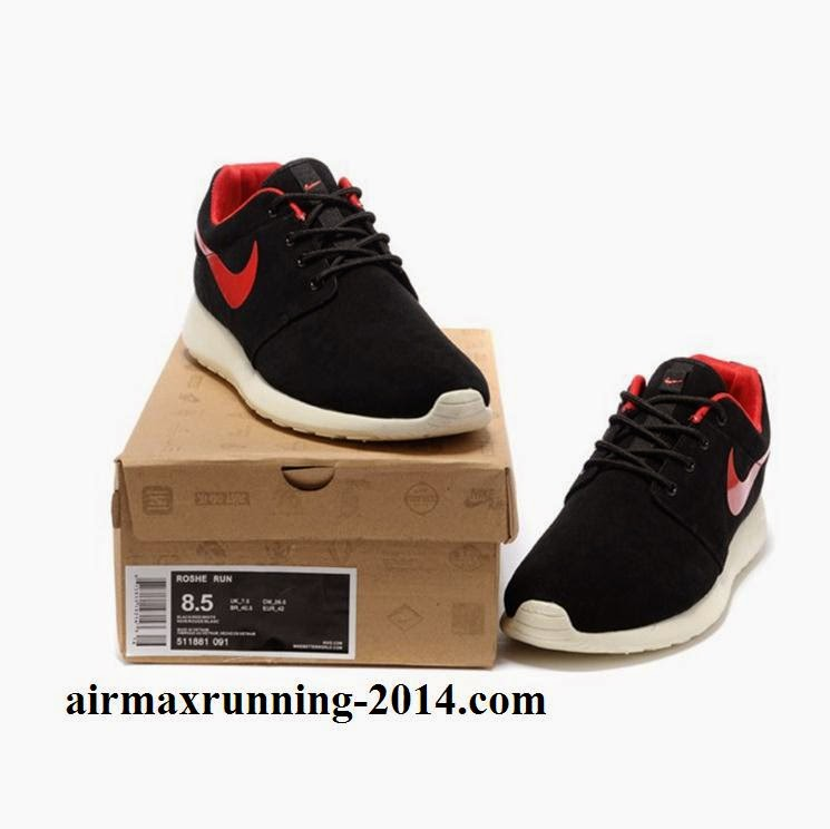 Hot Sale Nike Roshe Mens Running Shoes Wool Skin Online Black Red