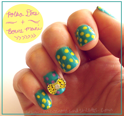 Polka Dots and Bows Nail Art