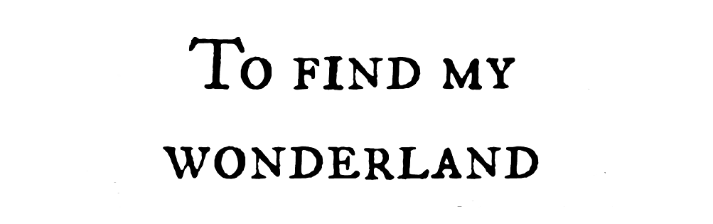 To find my wonderland