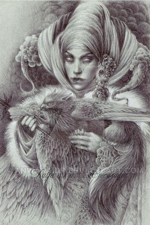 22-Gray-Witch-Olga-Anwaraidd-Drawings-Fantasy-Portraits-Imaginary-Characters-www-designstack-co