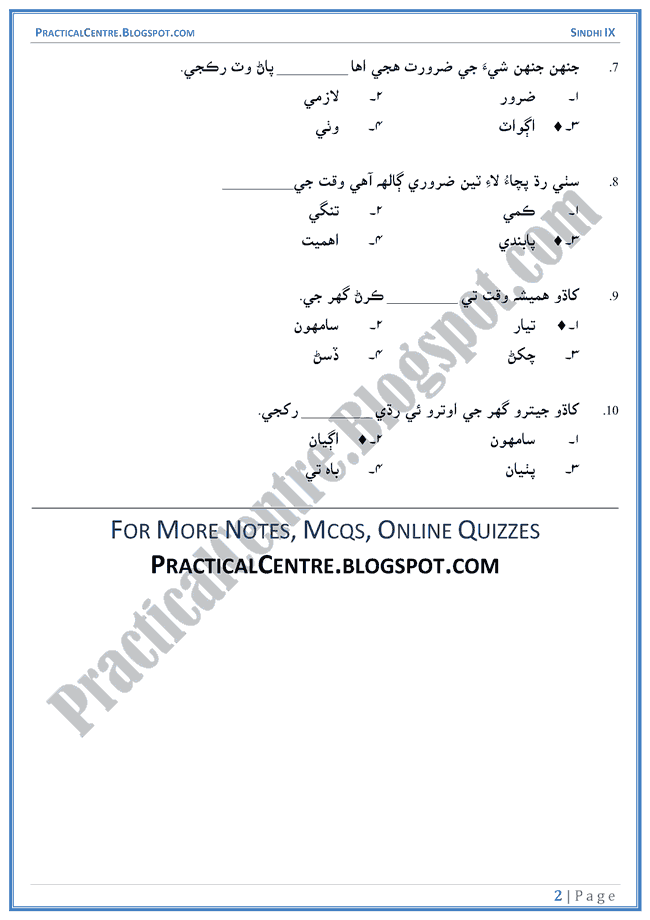 khana-pakana-multiple-choice-questions-sindhi-notes-ix