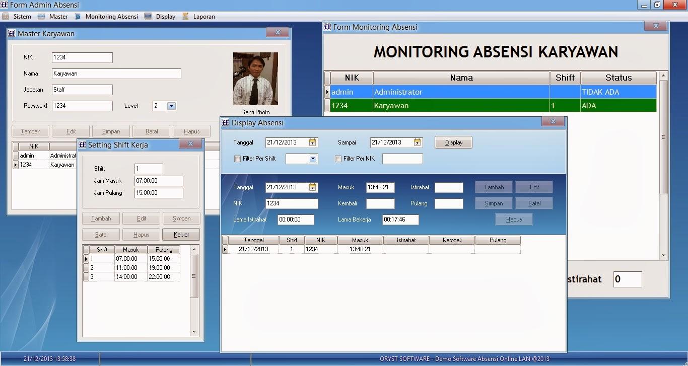 ... Absensi Karyawan Online via LAN - .:: ORYST - Software UKM
