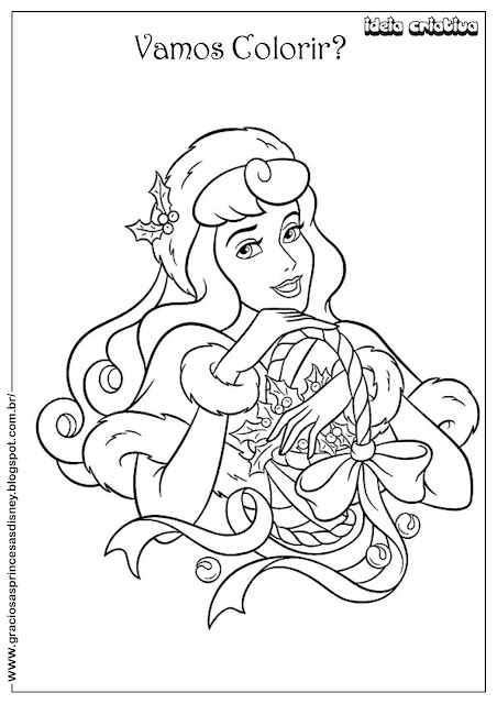 Princesa Disney Natal A Bela Adormecida Colorir