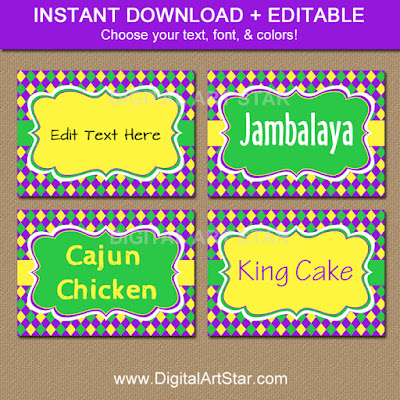 Digital Mardi Gras Food Labels Download