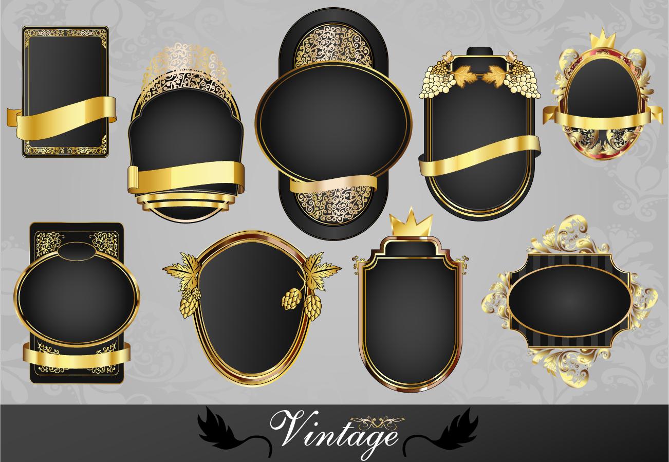 豪華な金飾りのラベル フレーム classic gold pattern bottle label イラスト素材