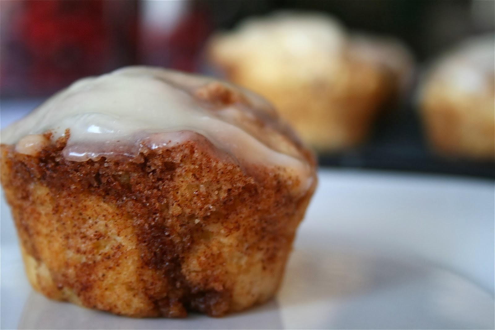 Cinnamon Swirl Muffins with Cream Cheese Glaze