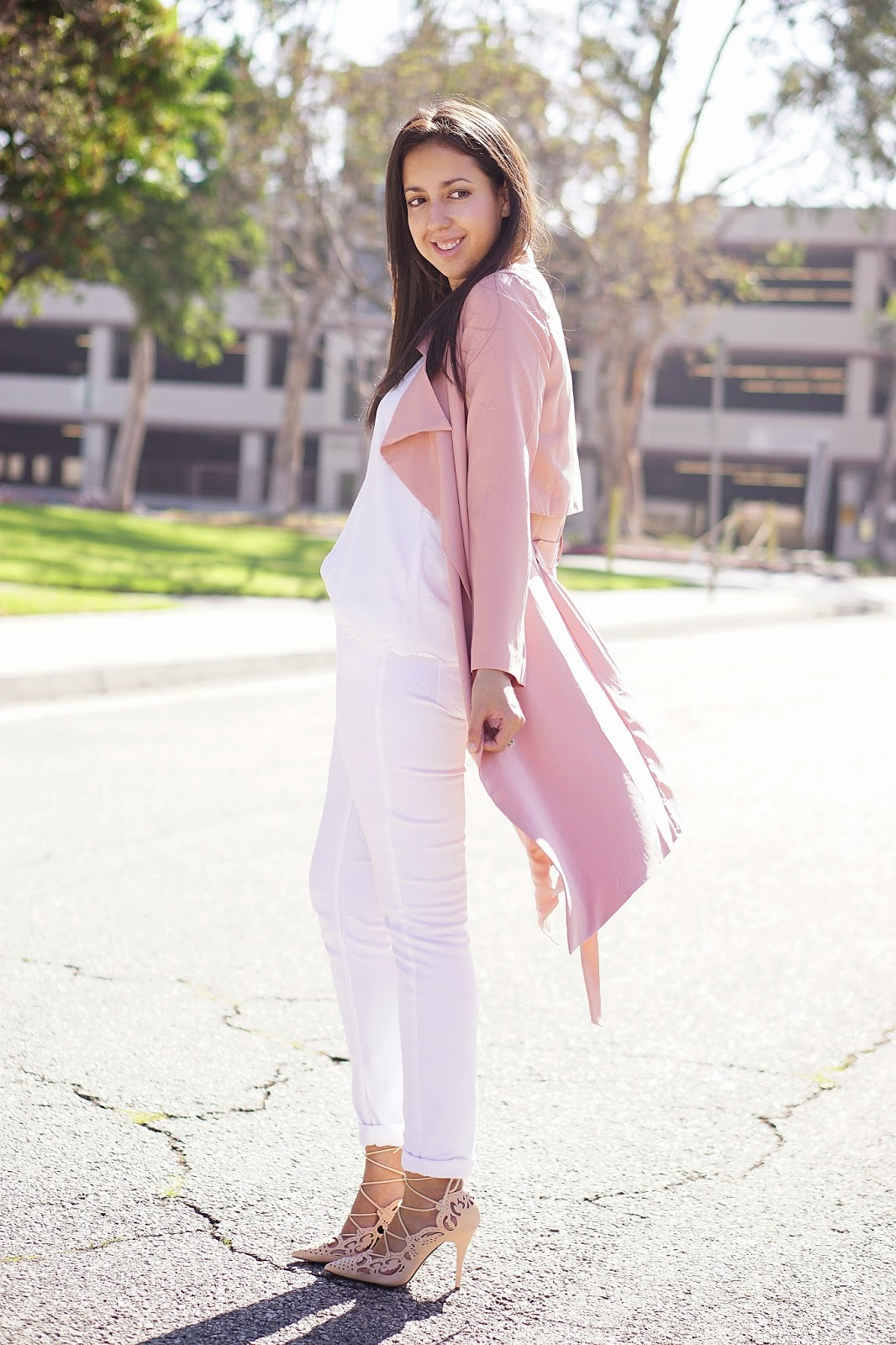 White Mango Cami, MNG by Mango, JCPenney, Arizona Skinny Jeans, White Jeans, Shoedazzle, Pink Trench Coat, Windsor Pink Trench Coat, Windsor, Neutral Outfit, Nude Laser Cut Heels, Christian Louboutin Inspired Heels, California Fall Fashion