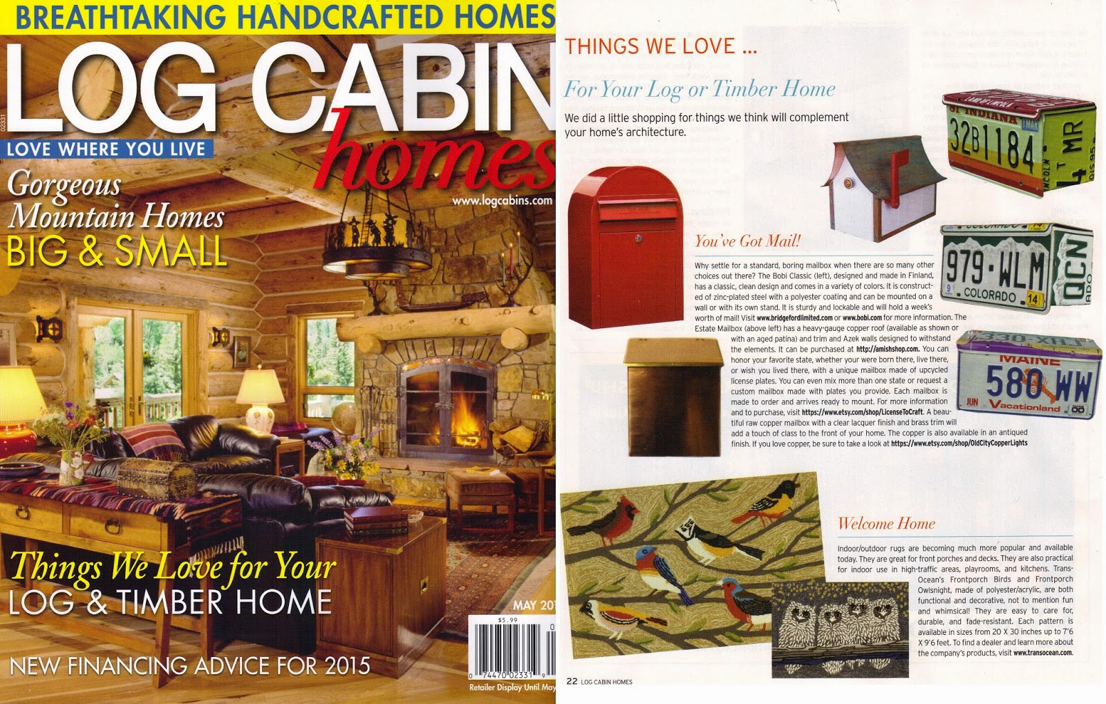 Our License Plate Mailboxes Featured In May 2015 Issue Of Log Cabin Homes  Magazine!