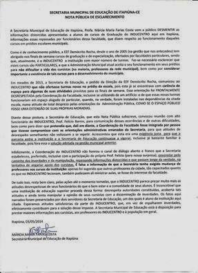 NOTA PÚBLICA DE ESCLARECIMENTO