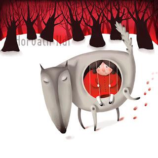 piroska és a farkas, téli tájkép, farkas megy a havas tájban, little red riding hood, snow, winter landscape