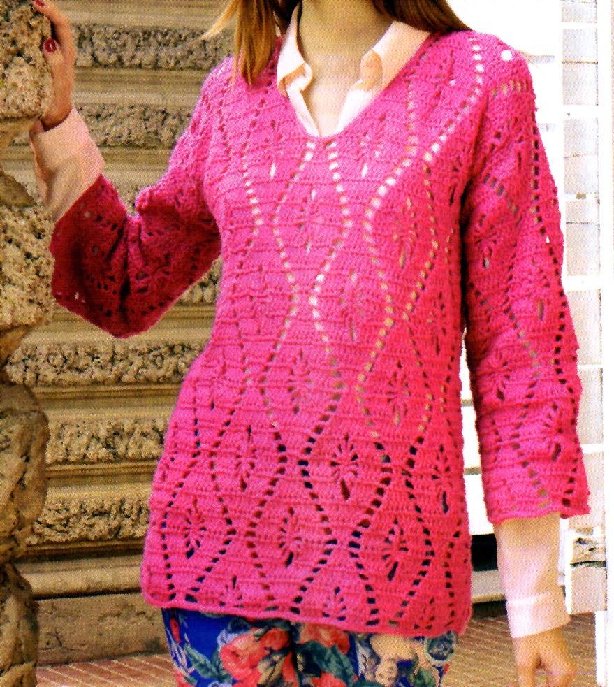 sueter calado tejido en crochet (modelo 2) frente